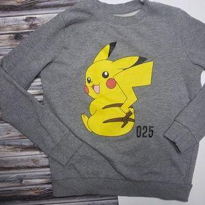 2/$10 Doe Pokemon Pikachu Gray Sweatshirt